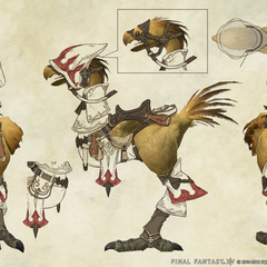 Concept art of a chocobo with white mage barding.