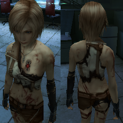 Aya wearing Lightning's damaged uniform. The final stage of her l'Cie brand is visible.