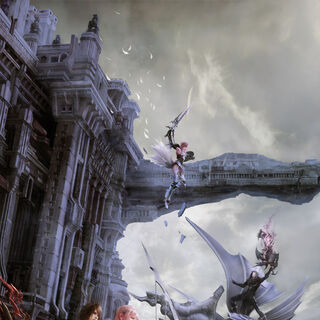 A promotional poster of Serah and Noel in Valhalla with Lightning fighting Caius on Bahamut in the background.