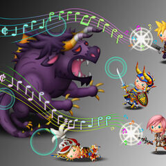 Artwork of Behemoth being fought in <i>Theatrhythm Final Fantasy</i>.
