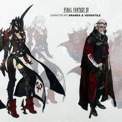 Concept artwork of Aranea (left) and Verstael (right).