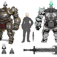 Dullahan, with figure for scale and weapon detail.