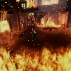Nibelheim aflame in <i>Before Crisis -Final Fantasy VII-</i>.