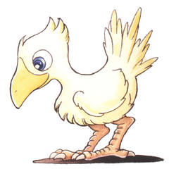 Kazuko Shibuya artwork of a chocobo for <i>Final Fantasy IV</i> (SNES).