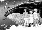 Shinra, Iris and Arthur in Vulcan's simulation