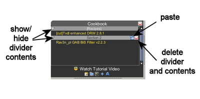 Cookbook divider options