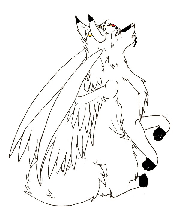 Anime Winged Cat Coloring Pages