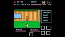 Inside small cabin with another counselor while Jason inside