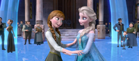 Anna and Elsa in courtyard