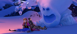 Anna and Kristoff try to escape Marshmallow