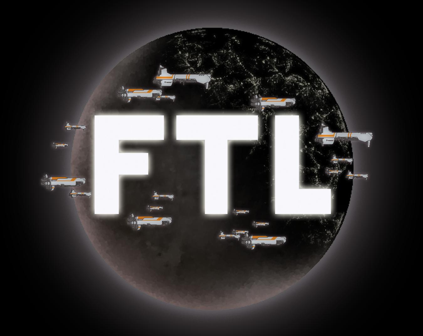 Tapeta z gry FTL przedstawiająca planetę oraz flotę okrętów wojennych na tle logo gry.