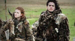 Jon und Ygritte südlich der Mauer.