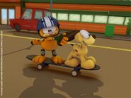 Garfield on skateboard