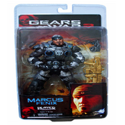 Marcus Fenix (Action Figure) Series Three in box (Front) with gold Lancer Assault Rifle.