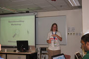 Woman presenter at Wikimania 2013