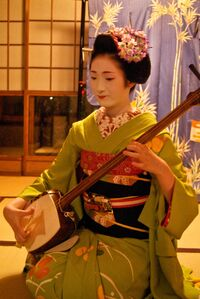Maiko-playing-shamisen