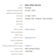 Burke-MaryEllen 1870 birth baptism