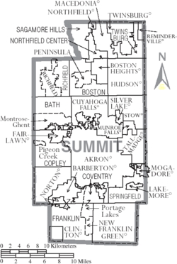 Map of Summit County Ohio With Municipal and Township Labels