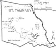 Map of St. Tammany Parish Louisiana With Municipal Labels
