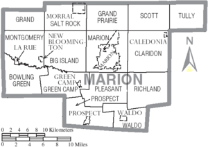 Map of Marion County Ohio With Municipal and Township Labels