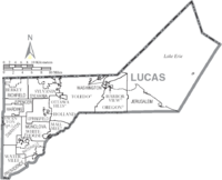 Map of Lucas County Ohio With Municipal and Township Labels