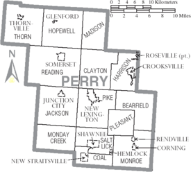 Map of Perry County Ohio With Municipal and Township Labels