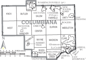 Map of Columbiana County Ohio With Municipal and Township Labels