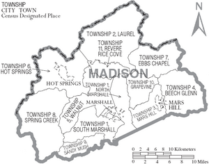 Map of Madison County North Carolina With Municipal and Township Labels