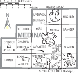 Map of Medina County Ohio With Municipal and Township Labels
