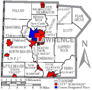 Map of Lawrence County Pennsylvania With Municipal and Township Labels