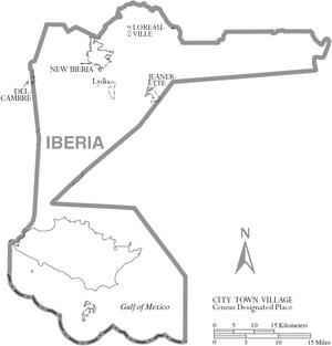 Map of Iberia Parish Louisiana With Municipal Labels