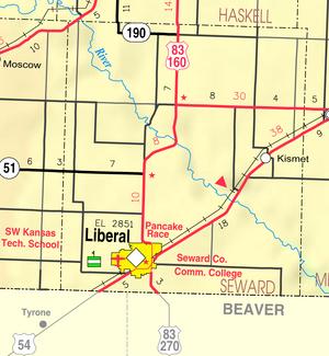 Map of Seward Co, Ks, USA