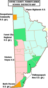 Map of Wayne County Pennsylvania School Districts