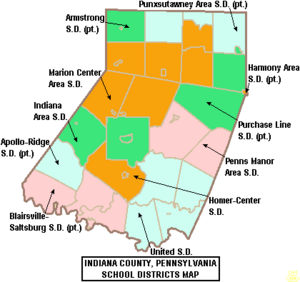Map of Indiana County Pennsylvania School Districts