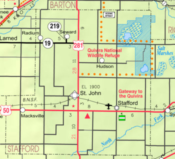 Map of Stafford Co, Ks, USA
