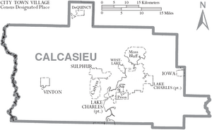 Map of Calcasieu Parish Louisiana With Municipal Labels