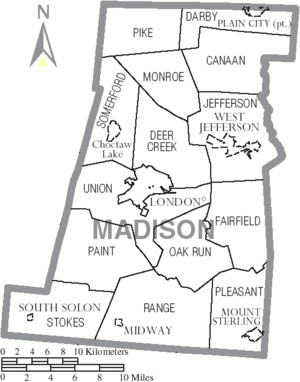 Map of Madison County Ohio With Municipal and Township Labels