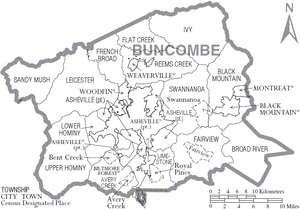 Map of Buncombe County North Carolina With Municipal and Township Labels