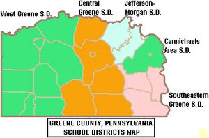 Map of Greene County Pennsylvania School Districts