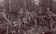 Road builders in Blekinge county in early 30´. Nils in hat, brother Gustav to the left.