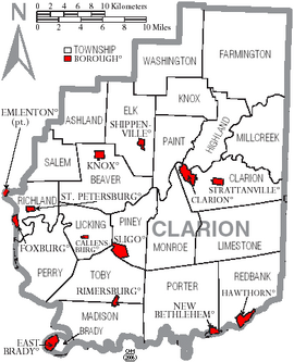 Map of Clarion County Pennsylvania With Municipal and Township Labels