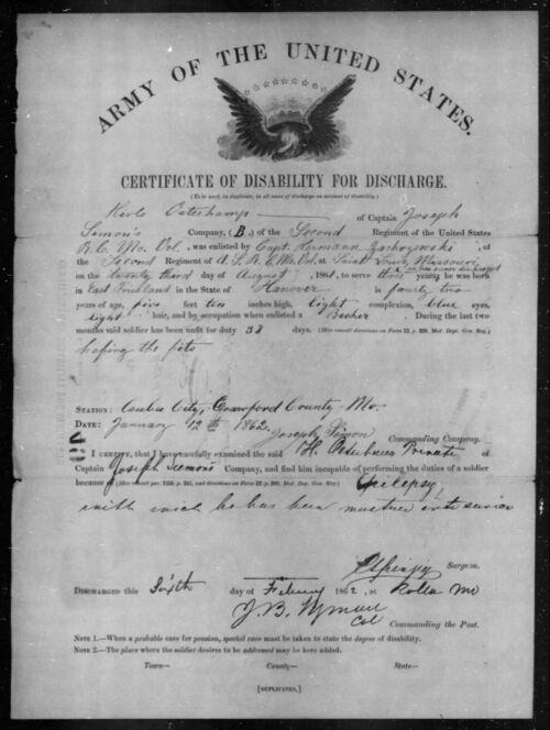 Hicke Osterkamp's Civil War certificate of discharge