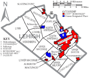 Map of Lehigh County Pennsylvania With Municipal and Township Labels