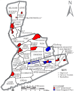 Map of Northumberland CountyPennsylvania With Municipal and Township Labels