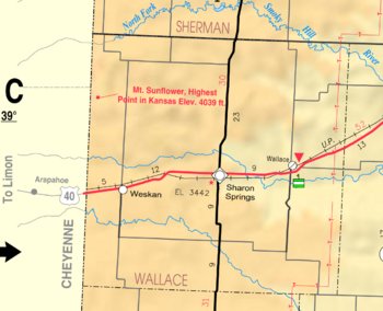 Map of Wallace Co, Ks, USA