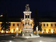 Esztergom city hall and holy trinity statue