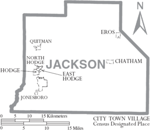 Map of Jackson Parish Louisiana With Municipal Labels