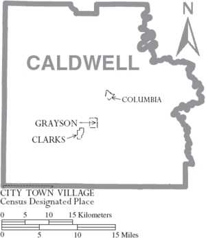 Map of Caldwell Parish Louisiana With Municipal Labels