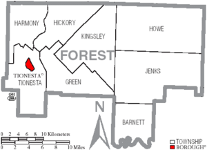 Map of Forest County Pennsylvania With Municipal and Township Labels