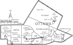 Map of Ottawa County Ohio With Municipal and Township Labels